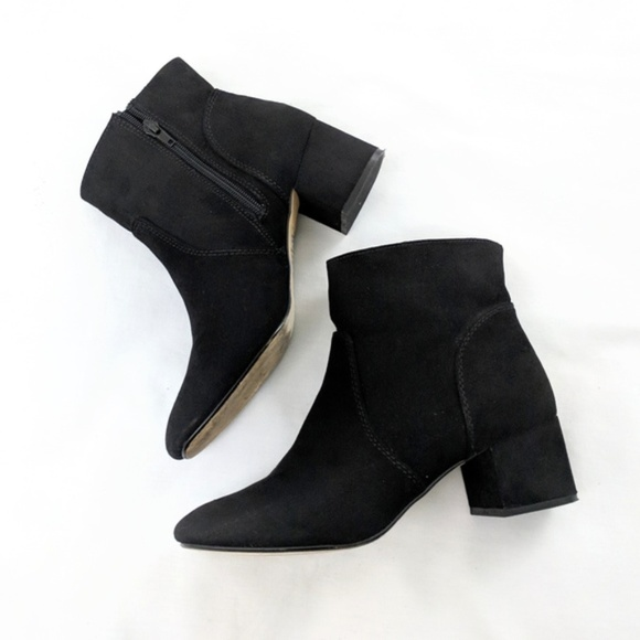 Express Suede Black High Ankle Boots